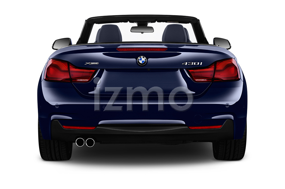 Straight rear view of a 2018 BMW 4 Series M Sport 2 Door Convertible stock images