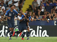 Football: Uefa under 21 Championship 2019, England - France, Dino Manuzzi stadium Cesena Italy on June18, 2019.<br /> France's Jonathan Ikoné (c) celebrates after scoring with his teammates Jeff Reine -Adélaide (l) and Colin Dagba  (r) during the Uefa under 21 Championship 2019 football match between England and France at Dino Manuzzi stadium in Cesena, Italy on June18, 2019.<br /> UPDATE IMAGES PRESS/Isabella Bonotto