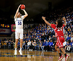 BROOKINGS, SD - FEBRUARY 23: David Wingett #50 of the South Dakota State Jackrabbits shoots a three pointer against the South Dakota Coyotes Sunday at Frost Arena in Brookings, SD. (Photo by Dave Eggen/Inertia)