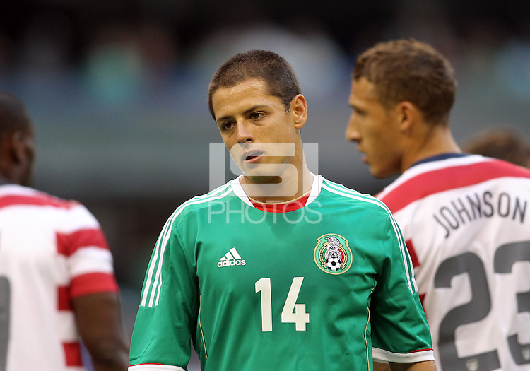 MEXICO CITY, MEXICO - AUGUST 15, 2012:  Javier (Chicharito) Hernandez (14) of  Mexico during an international friendly match against the USA at Azteca Stadium, in Mexico City, Mexico on August 15. USA won 1-0.