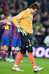 Football Season 2009-2010. Valencia's goalkeeper Cesar Sanchez dejected during their spanish liga soccer match between Barcelona vs Valencia at Camp Nou  stadium in Barcelona. 14 March 2010.