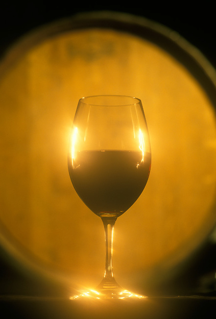 Glass of cabernet in winery