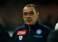 Napoli's coach  Maurizio Sarri during the  italian serie a soccer match,between SSC Napoli and Sassuolo    at  the San  Paolo   stadium in Naples  Italy , January 17, 2016