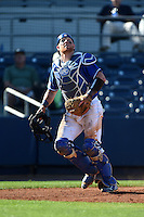 Indiana State Sycamores catcher Kaden Moore (12) looks for a foul pop up during a game against the Vanderbilt Commodores on February 21, 2015 at Charlotte Sports Park in Port Charlotte, Florida.  Indiana State defeated Vanderbilt 8-1.  (Mike Janes/Four Seam Images)