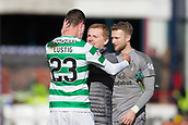 17th March 2019, Dens Park, Dundee, Scotland; Ladbrokes Premiership football, Dundee versus Celtic; Celtic manager Neil Lennon celebrates at the end of the match with Mikael Lustig