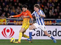 Real Sociedad's Asier Illarramendi (r) and FC Barcelona's Cesc Fabregas during La Liga match.January 19,2013. (ALTERPHOTOS/Acero) /NortePhoto