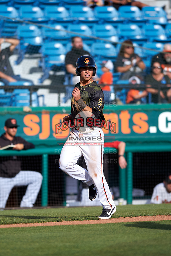 San Jose Giants second baseman Orlando Garcia (21) during a California League game against the Visalia Rawhide on April 13, 2019 at San Jose Municipal Stadium in San Jose, California. Visalia defeated San Jose 4-2. (Zachary Lucy/Four Seam Images)