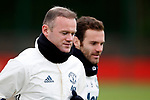 Wayne Rooney of Manchester United and Juan Mata during the Manchester United open training session at the Carrington Training Centre, Manchester. Picture date: May 19th 2017. <br /> Pic credit should read: Matt McNulty/Sportimage