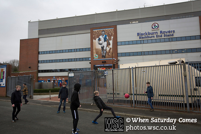 Blackburn Rovers 3 Shrewsbury Town 1, 14/01/2018. Ewood Park, League One. A group of young boys playing football at the back of the Blackburn End Stand before Blackburn Rovers played Shrewsbury Town in a Sky Bet League One fixture at Ewood Park. Both team were in the top three in the division at the start of the game. Blackburn won the match by 3 goals to 1, watched by a crowd of 13,579. Photo by Colin McPherson.