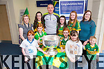 Ulster Bank Tralee family fun Day with the Star Kieran Donaghy and the Sam Maguire on Saturday pictured front l-r Clara Faggoter, Grace Leahy, Orla Leahy, Evie Faggoter,  Back l-r Veronica Slattery,(Manager Ulster Bank) Eliza Kennelly, Kieran Donaghy, Alannah Horgan, Rachel Costello, Ashling Lacy, Ethan Lacy Graham