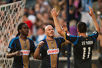Conor Casey (6) of the Philadelphia Union celebrates scoring with Sebastien Le Toux (11) and Keon Daniel (26) during the first half against the Columbus Crew during a Major League Soccer (MLS) match at PPL Park in Chester, PA, on June 5, 2013.