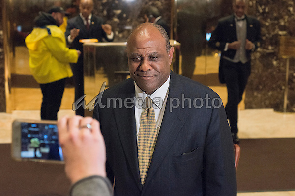 Lockheed Martin Senior Vice President Leo S. Mackay, Jr. is seen speaking with the press in the lobby of Trump Tower in New York, NY, USA on January 3, 2017. Photo Credit: Albin Lohr-Jones/CNP/AdMedia