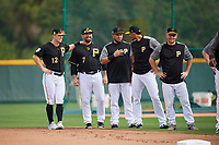 Pittsburgh Pirates Corey Dickerson (12), Garth Brooks (7), Melky Cabrera (53), Erik Gonzalez (2), and Adam Frazier (26) during the teams first Spring Training practice on February 18, 2019 at Pirate City in Bradenton, Florida.  (Mike Janes/Four Seam Images)