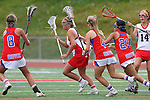Redondo Beach, CA 05/14/11 - unidentified Redondo Union player, Torrey Bailey (Los Alamitos #4), Sophia Aragon (Los Alamitos #21) in action during the 2011 US Lacrosse / CIF Southern Section Division 1 Girls Varsity Lacrosse Championship, Los Alamitos defeated Redondo Union 17-5.