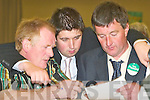 1345-1353.Talismen Dermot OLeary, Niall Kelleher and Edward McCarthy do their figures during the first count at the South Kerry count in The Malton Hotel, Killarney, last Friday morning..