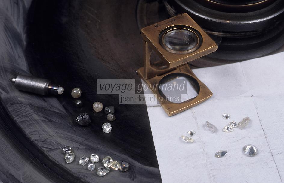 Europe/Belgique/Flandre/Province d'Anvers/Anvers : Chez un diamantaire - Taille des diamants
