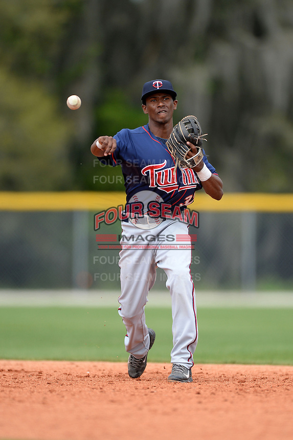 Minnesota Twins infielder Jonatan Hinojosa (37) during practice before a minor league spring training game against the Baltimore Orioles on March 20, 2014 at the Buck O'Neil Complex in Sarasota, Florida.  (Mike Janes/Four Seam Images)