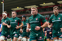Tom Youngs leads the Leicester Tigers team off the field after the pre-match warm-up. Aviva Premiership match, between Leicester Tigers and Bath Rugby on September 3, 2017 at Welford Road in Leicester, England. Photo by: Patrick Khachfe / Onside Images