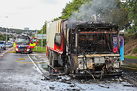 2016 09 30 Refuse lorry on fire, Swansea, UK