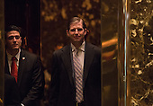 Eric Trump stands in the elevator as he arrives to Trump Tower on January 17, 2017 in New York City. U.S. President Elect Donald Trump is still holding meetings upstairs at Trump Tower just 3 days before the inauguration.    <br /> Credit: Bryan R. Smith / Pool via CNP