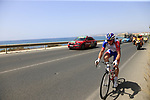 The tail end of the peloton after the start of Stage 4 of the La Vuelta 2018, running 162km from Velez-Malaga to Alfacar, Sierra de la Alfaguara, Andalucia, Spain. 28th August 2018.<br /> Picture: Eoin Clarke   Cyclefile<br /> <br /> <br /> All photos usage must carry mandatory copyright credit (&copy; Cyclefile   Eoin Clarke)