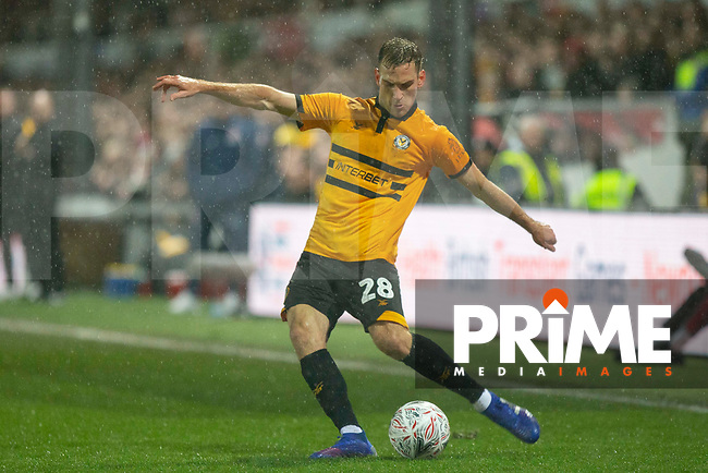 Mickey Demetriou of Newport County during the FA Cup 4th round replay match between Newport County and Middlesbrough at Rodney Parade, Newport, Wales on 5 February 2019. Photo by Mark  Hawkins / PRiME Media Images.