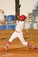 Oscar Taveras #7 of the Johnson City Cardinals watches the flight of his home run against the Elizabethton Twins at Howard Johnson Field July 3, 2010, in Johnson City, Tennessee.  Photo by Brian Westerholt / Four Seam Images