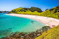 White sandy beach in the Waikare Inlet visited from Russell by sailing boat, Bay of Islands, Northland Region, North Island, New Zealand