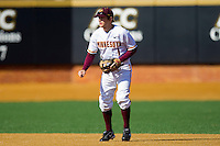 Shortstop AJ Pettersen #1 of the Minnesota Golden Gophers on defense against the Towson Tigers at Gene Hooks Field on February 26, 2011 in Winston-Salem, North Carolina.  The Gophers defeated the Tigers 6-4.  Photo by Brian Westerholt / Sports On Film