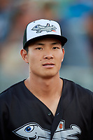 Aberdeen IronBirds Guiyuan Xu (26) before a game against the Staten Island Yankees on August 23, 2018 at Leidos Field at Ripken Stadium in Aberdeen, Maryland.  Aberdeen defeated Staten Island 6-2.  (Mike Janes/Four Seam Images)
