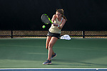 Anna Ulyashchenko of the Wake Forest Demon Deacons returns the ball during her match at #4 singles against the North Carolina Tar Heels at the Wake Forest Tennis Center on March 29, 2017 in Winston-Salem, North Carolina. The Tar Heels defeated the Demon Deacons 6-1.  (Brian Westerholt/Sports On Film)