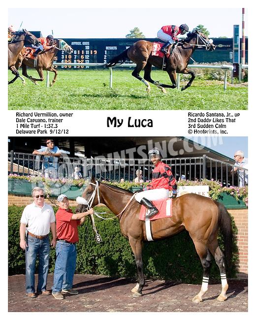 My Luca winning at Delaware Park on 9/12/12