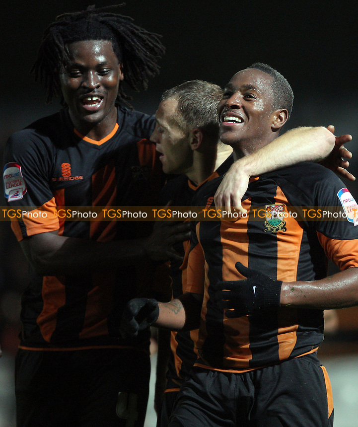 Anthony Edgar celebrates after scoring the 4th goal for Barnet - Barnet vs Northampton Town, nPower League 2 at Underhill Stadium, Barnet - 19/10/12 - MANDATORY CREDIT: Rob Newell/TGSPHOTO - Self billing applies where appropriate - 0845 094 6026 - contact@tgsphoto.co.uk - NO UNPAID USE.