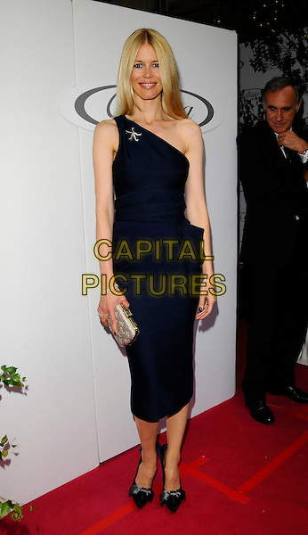 CLAUDIA SCHIFFER.Attending the Launch Party for the first ever UK Calleija Jewellery Store, The Royal Arcade, Old Bond Street, London, England, June 24th 2008..arrivals full length blue dress one shoulder brooch silver clutch bag shoes bows .CAP/CAN.©Can Nguyen/Capital Pictures