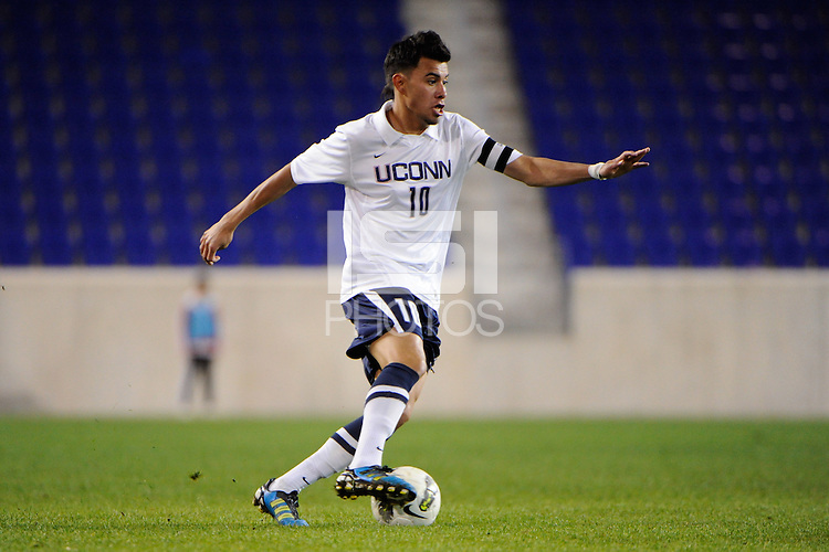 Carlos Alvarez (10) of the Connecticut Huskies. Connecticut defeated Louisville 1-0 during the first semifinal match of the Big East Men's Soccer Championships at Red Bull Arena in Harrison, NJ, on November 11, 2011.