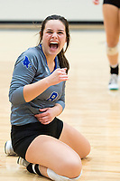 NWA Democrat-Gazette/CHARLIE KAIJO Rogers High School outside hitter Madelyn Tauai (8) laughs during the girl's volleyball game on Thursday, October 12, 2017 at Bentonville West High School in Centerton.