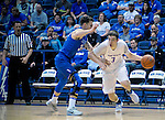March 4, 2017:   Boise State guard, Justinian Jessup #3, drives past Falcon, Ryan Manning #32, during the NCAA basketball game between the Boise State Broncos and the Air Force Academy Falcons, Clune Arena, U.S. Air Force Academy, Colorado Springs, Colorado.  Boise State defeats Air Force 98-70.