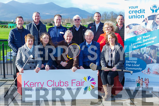 launching the  Killarney Lions Club 'Kerry Clubs Fair' sponsored by Killarney Credit Union in Killarney Race Course on Friday Front Row L-r: Assumpta Sweeney (KDYS), Megan Daly Tyrell (Killarney Race Course), John Fuller (Chapter 23), Christy Killeen (Chapter 23) & Nancy Hegarty (Killarney Active Retirement & Muckross ICA). Back Row L-r: Denis Doolan (Lions Club), Tim O'Donoghue (KDYS), Garda Darren Rowan, Donal McCarthy & Ian Holohan (Order of Malta), Helen Courtney Power (Killarney Credit Union) & Ronan Doyle (Lions Club)