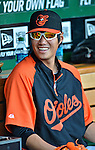 18 May 2012: Baltimore Orioles pitcher Wei-Yin Chen sits in the dugout prior to a game against the Washington Nationals at Nationals Park in Washington, DC. The Orioles defeated the Nationals 2-1 in the first game of their 3-game series. Mandatory Credit: Ed Wolfstein Photo