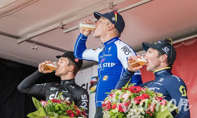victory cheers/beers for:<br /> 1/ Philippe Gilbert (BEL/Quick Step floors)<br /> 2/ Michal Kwiatkowski (POL/SKY)<br /> 3/ Michael Albasini (SUI/Orica-Scott)<br /> <br /> 52nd Amstel Gold Race (1.UWT)<br /> 1 Day Race: Maastricht &rsaquo; Berg en Terblijt (264km)