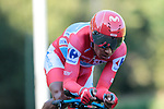 Race leader Red Jersey Nairo Quintana (COL) Movistar Team in action during Stage 10 of La Vuelta 2019 an individual time trial running 36.2km from Jurancon to Pau, France. 3rd September 2019.<br /> Picture: Colin Flockton | Cyclefile<br /> <br /> All photos usage must carry mandatory copyright credit (© Cyclefile | Colin Flockton)