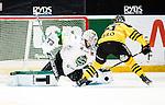 Stockholm 2014-11-16 Ishockey Hockeyallsvenskan AIK - IF Bj&ouml;rkl&ouml;ven :  <br /> Bj&ouml;rkl&ouml;vens m&aring;lvakt Johan Mattsson r&auml;ddar en straff av AIK:s Theodor Lennstr&ouml;m under straffl&auml;ggningen efter ordinarie matchtid<br /> (Foto: Kenta J&ouml;nsson) Nyckelord:  AIK Gnaget Hockeyallsvenskan Allsvenskan Hovet Johanneshov Isstadion Bj&ouml;rkl&ouml;ven L&ouml;ven IFB