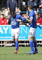 Stephen Dobbie with his '42 goals scored t shirt' being congratulated by Lyndon Dykes in the SPFL Ladbrokes Championship Play Off semi final match between Queen of the South and Montrose at Palmerston Park, Dumfries on  11.5.19.