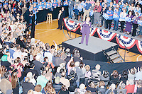 Former Secretary of State and Democratic presidential candidate Hillary Rodham Clinton speaks at a rally at Nashua Community College in Nashua, New Hampshire, on Tues. Feb. 2, 2016. Former president Bill Clinton also spoke at the event. The day before, Hillary Clinton won the Iowa caucus by a small margin over Bernie Sanders.