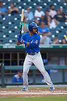 Tyler Ladendorf (7) of the Durham Bulls at bat against the Charlotte Knights at BB&T BallPark on July 31, 2019 in Charlotte, North Carolina. The Knights defeated the Bulls 9-6. (Brian Westerholt/Four Seam Images)
