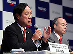 Japan's mega bank Mizuho Financial Group president Yasuhiro Sato speaks at a press conference in Tokyo on Thursday, September 15, 2016. Sato and Japanese telecommunication giant Softbank president Masayoshi Son announced to form a FinTech based joint venture lending service.   (Photo by Yoshio Tsunoda/AFLO) LWX -ytd-