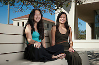 "Occidental College students Jamison ""Jamie"" Namba '15, left, and Irene Li '12 on Feb. 9, 2012 near the AGC Admin. Building, Los Angeles, Calif. Portrait taken for newsletter. (Photo by Marc Campos, Occidental College Photographer)"