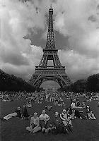 People looking at the eclipse at Champ de Mars in Paris Aug. 1999