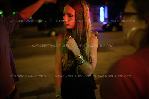 Scranton, Pennsylvania.July 30, 2012..Danielle Rinaldi, 29, who works in retail; outside the Bog Bar...Photograph by Alan Chin.