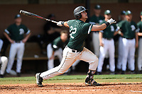 Third baseman Will Hardigree (22) of the University of South Carolina Upstate Spartans bats in a game against the Pittsburgh Panthers on Saturday, February 24, 2018, at Cleveland S. Harley Park in Spartanburg, South Carolina. Pittsburgh won, 3-1. (Tom Priddy/Four Seam Images)